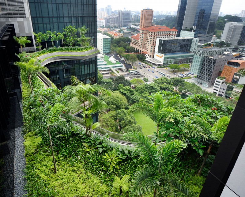 Enchanting Park Royal Sky Garden Hotel With Green Garden Designed In Floating Style With Tropical Plants Near Skyscrapper Buildings With Glass Exterior Wall