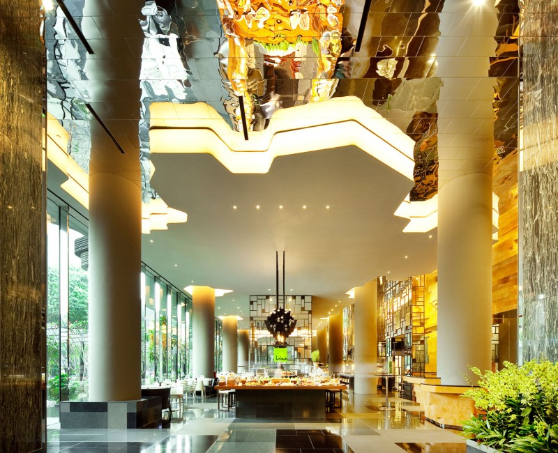 Inspiring Park Royal Sky Garden Hotel With Grey Interior Columns Also LED Lamps On Artistic Ceiling Design Also Wood Design For Dining Table Of Hotel Bar