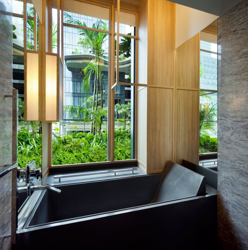 Gorgeous Park Royal Sky Garden Hotel With Granite Veneer For Bath Up And Bathroom Wall Installation Also Aluminum Faucet Near Glass Window In Wood Frame
