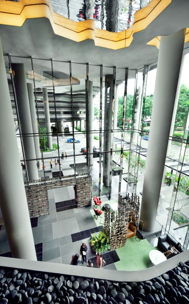 Passionate Park Royal Sky Garden Hotel With Huge Interior Pillars Also Glass Exterior Wall Also Artistic Ceiling Design With LED Lamps And Natural Stone Decoration