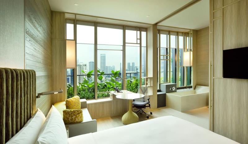 Bewitching Park Royal Sky Garden Hotel With Minimalist Design For Bedroom Also Wod Headboard And Suede Bed Cover Also Glass Panel Uncovered With Curtain